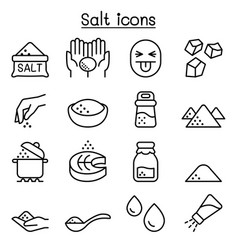 Salt icon set in thin line style vector