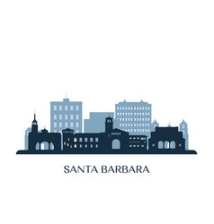 Santa barbara skyline monochrome silhouette vector