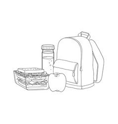 school backpack and food for lunch break isolated vector image