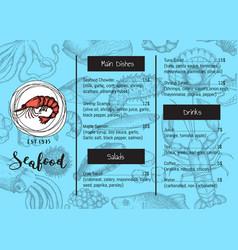seafood restaurant menu vintage template vector image