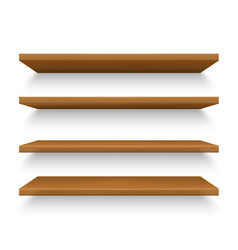 Set isolated realistic wooden shelves on wall vector
