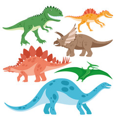 Set of cheerful dinosaurs vector