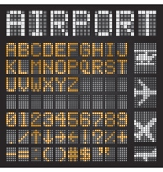 Set of letters on a mechanical timetable airport vector image