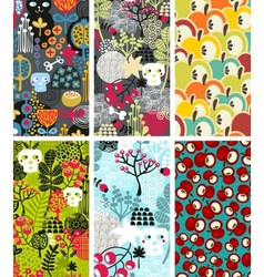 Set of six vertical cards with skulls and apples vector