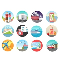 Set of travel vacation tour trip on the water on vector image