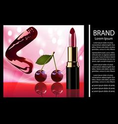 shiny glamorous lips cherry lipstick vector image