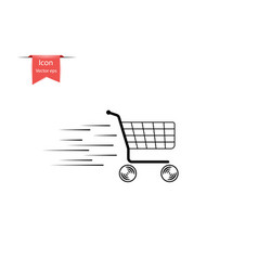 shopping empty shopping cart in motion vector image