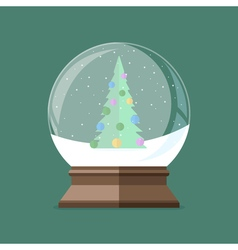 Snow globe with christmas tree inside Flat vector image