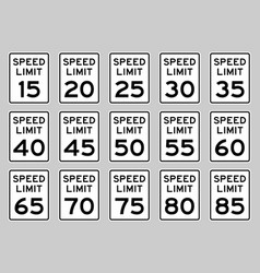 speed limit road sign set for usa vector image