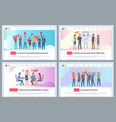 startup and working people victory successful team vector image