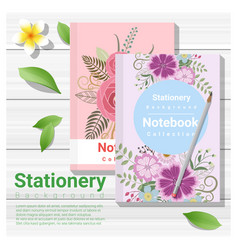 summer scene with colorful notebooks vector image
