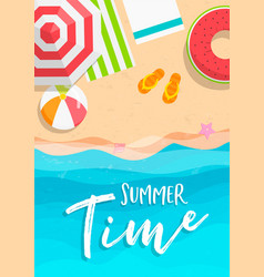 summer time card beach vacation in top view vector image