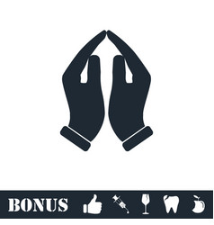 supporting hands icon flat vector image