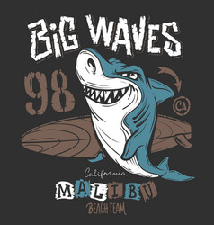 surf shark t-shirt print design vector image