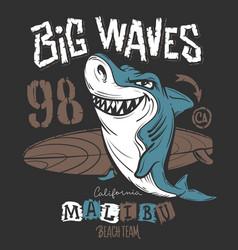 Surf shark t-shirt print design vector