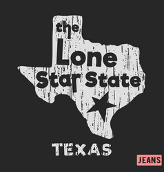 T-shirt print design texas - lone star state vector