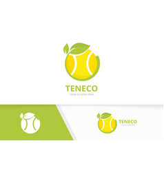 tennis and leaf logo combination game vector image