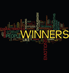 The characteristics of a winner text background vector