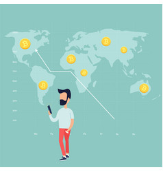 trading man and growing chart with golden bitcoins vector image