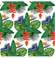 Tropical bouquet seamless pattern vector