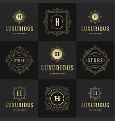 vintage logos and monograms set elegant flourishes vector image