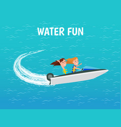 Water fun girls riding motor boat poster vector