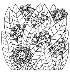 Whimsical garden adult coloring book page vector image