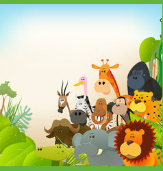 Wildlife animals background vector