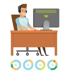Worker using computer diagram set hob vector