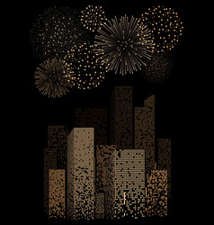 Yellow firework show on night city landscape vector