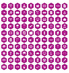 100 building materials icons hexagon violet vector