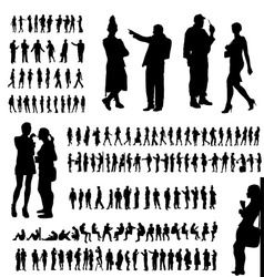 Adult people silhouettes collection vector image vector image