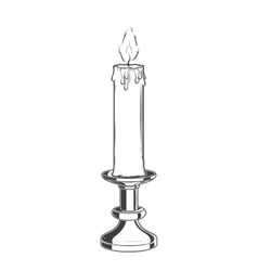 Burning old candle and vintage candlestick vector image