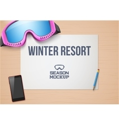 Creative winter workplace with white paper Top vector image