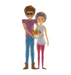 drawing happy couple romantic bouquet flower vector image