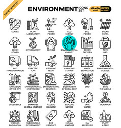 environment eco concept detailed line icons vector image
