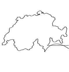 Map of switzerland continous line vector