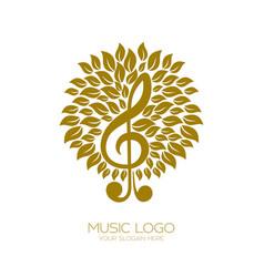 Music logo flourishing treble clef vector