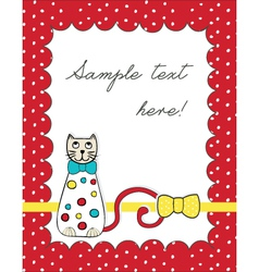 Red card with cat vector image vector image
