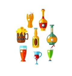 set of flat beer icons bottles and glasses vector image