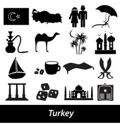 turkey country theme symbols icons set eps10 vector image vector image