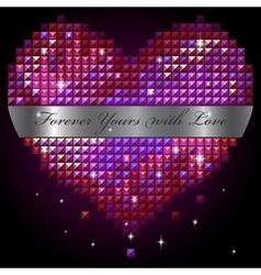 shiny rhinestone heart vector image vector image