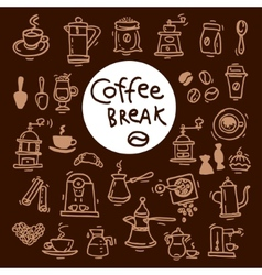 Sketch doodle coffee icon set Hand drawn vector image