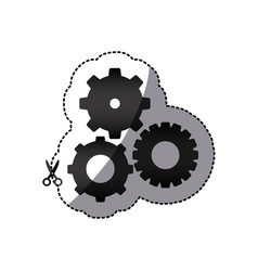 sticker black silhouette with pinions set vector image