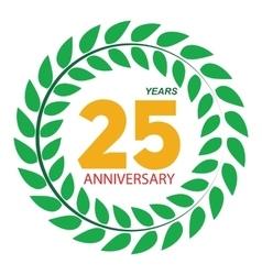 Template Logo 25 Anniversary in Laurel Wreath vector image