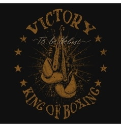 Vintage trademark with boxing gloves vector image vector image