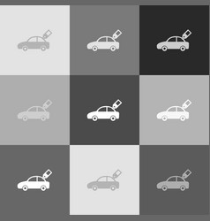 car sign with tag grayscale version of vector image vector image