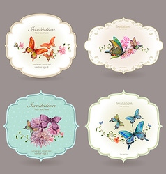 collection retro label with butterflies watercolor vector image vector image