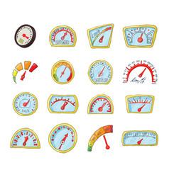 dash board icon set cartoon style vector image