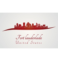 Fort Lauderlade skyline in red vector image vector image